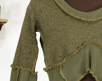 olive green and mustard cropped upcycled shrug - lightweight wool