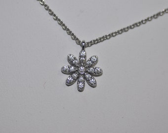 Tiffany & Co. 18k White Gold Diamond Flower Daisy Pendant