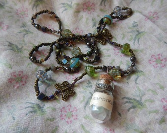 Muchness - Beaded Necklace with Glass Bottle Pendant