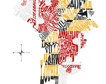 Anne Arundel Co with Maryland Flag 11x14in Print