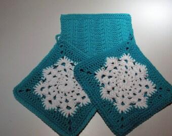 Turquoise Blue Snowflake Hot Pads Plus Dishcloth