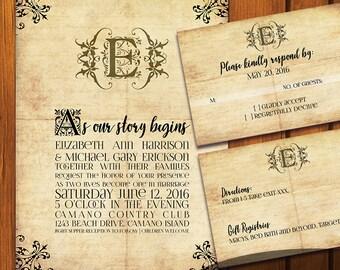 fairytale wedding vintage wedding suite old paper wedding invitation fairy tale vintage - Fairy Tale Wedding Invitations