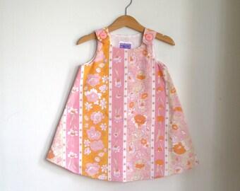 Pink & Peach Floral Stripe Retro Vintage Dress   Baby, Newborn, Toddler Girls Children's Clothing   Sizes Newborn to Pre-School Size 4T