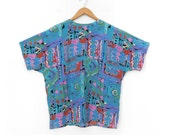 Sz M 80s Abstract Print Short Sleeve Blouse - Vintage Women's Jewel Neck Abstract Print Patterned Turquoise Oversized Top