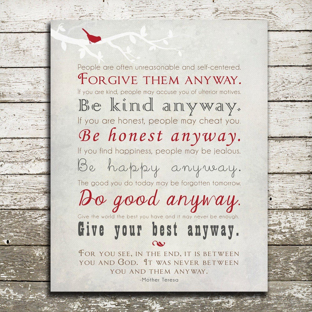 Mother Teresa Quotes People Are Often: Mother Teresa Quote Wall Art Print Forgive Them Anyway Be