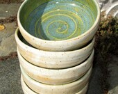 Set of Five Stacking Bowls - Turquoise Green/Speckled Cream