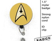 Star Trek Insignia 1.5 inch Button in Pin Back, Magnet, Key Ring or Badge Reels-ID Command, Engineering, Science Officer, Klingon, Medical