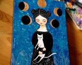 Moon Phases White Cat Painting Crystals at Midnight cat folk art acrylic painting by artist TASCHA 12x9