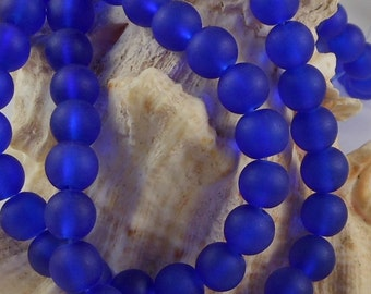 6mm Sea Glass Beads Smooth Round Frosted Matte Blueberry (Qty 15) Z-SG6-BLB