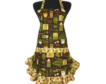 Rustic Kitchen apron for women, Fresh Herbs, Green and Brown, Adjustable with Ruffle