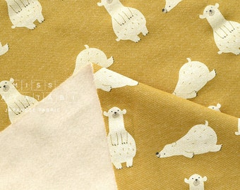 Japanese Fabric Kiyohara French Terry Fleece - polar bear- mustard - 50cm