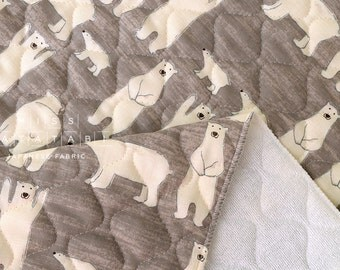 Japanese Fabric quilted double gauze - polar bears - taupe - 50cm