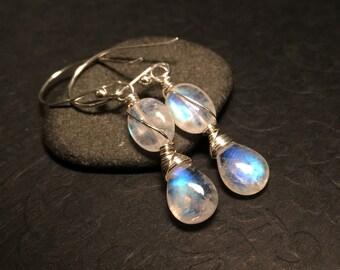 Rainbow Moonstone Sterling Silver Dangle Earrings