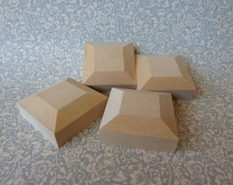 "Set of 4 New Unfinished Wood Bevel 2-3/4"" Square Furniture 1-1/8"" Tall Feet"