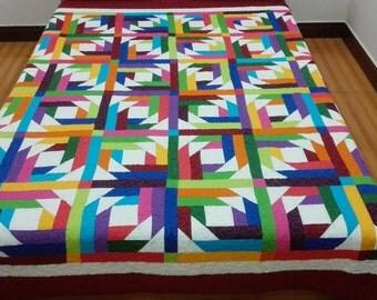 King   size Patchwork Complete Quilt J-49
