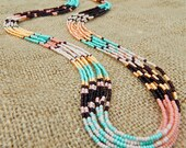 Southwest style long seed bead patterned statement necklace. Mint, purple, peach, rose, beige. Entwine Art