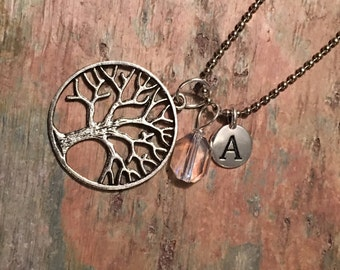 Family tree of life monogram crystal necklace