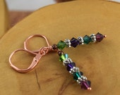AFRICAN VIOLET purple and green copper leverback Les Petite Cristaux Swarovski crystals handcrafted earrings gorgeous and still affordable
