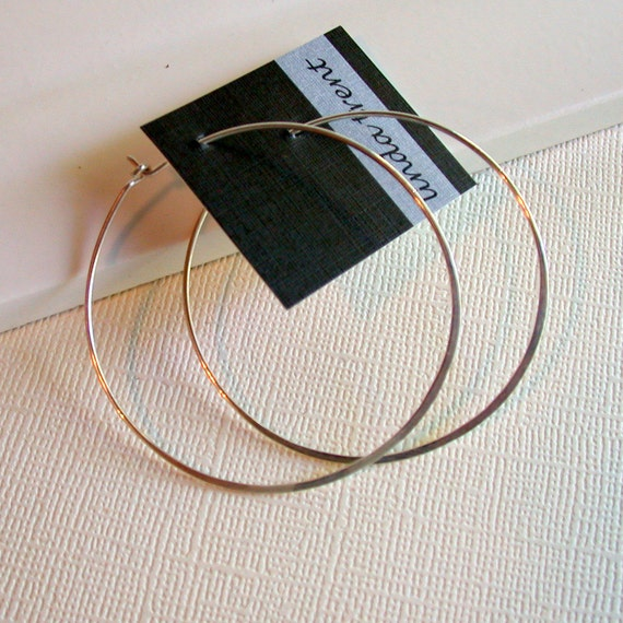 Sterling Silver Round Hoop Earrings. Featherweight Hoops. Large Hoop Earrings. Hammered Hoop Earrings. Pick Size. Silver Hoops.