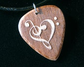 SALE - Clef Heart Reverse Engraved Wood Guitar Pick Necklace