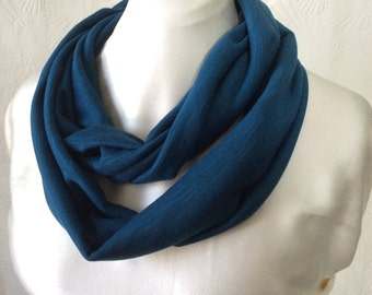 Peacock Blue Knit Infinity Scarf
