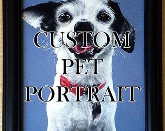 "8x10"" Custom Pet Portrait Framed - Cat Dog Puppy Kitten Kitty Puppies Animal Love Dachshund Pitbull Tabby"