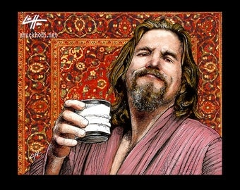 "Print 11x14"" - The Dude - The Big Lebowski Bowling Comedy Jeff Bridges Lowbrow Pop Portrait Funny Milk Abides White Russian Persian Rug"