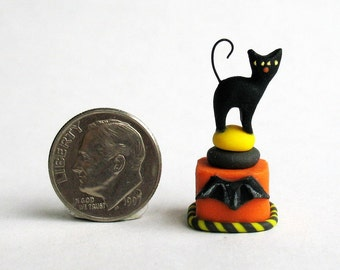 Handmade Miniature Halloween Black Cat Secret Box by C. Rohal