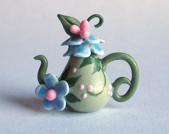Handmade Miniature Blue Fairy BlossomTeapot by C. Rohal