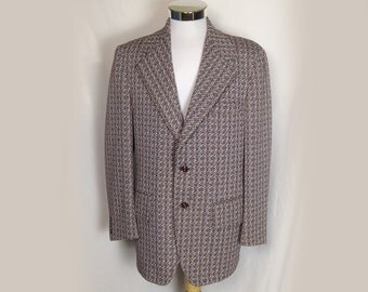 Men's Vintage Jacket, Sportcoat, Sport Coat, Blazer, 1970's, Red and Gray Check, Wide Lapels, Polyester, Atleigh, 40 Chest, Small/Medium