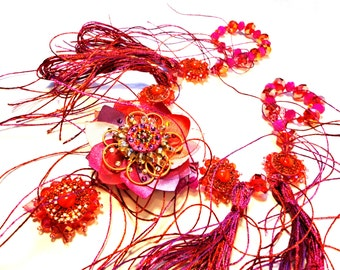 Red it is, Red, pink and orange tone floral Statement Necklace