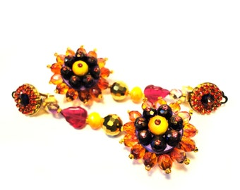 """Flower fantasy clip earring, """"Back to Couture"""" collection, orange, red, purple, gold tones, rhinestone clip earrings"""