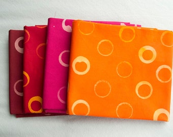 Bubble Hand Patterned and Dyed Cotton Fat Quarter and Half Yard Bundles/ Warm Colors