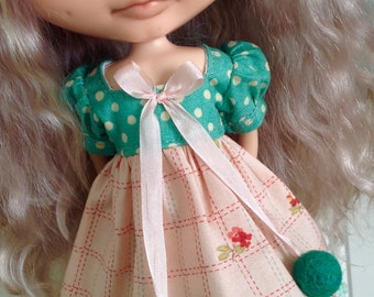 Dress for Blythe - Dotty Green and Peach Floral