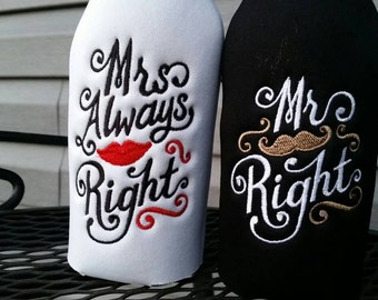 Mr. Right and Mrs. Always Right Long Neck Bottle insulators - Set