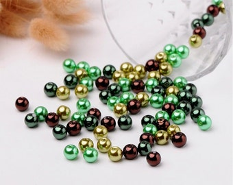 8mm Green and Brown Glass Pearl Round Beads Mix Dark Green Gold Pearls
