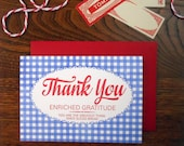 letterpress bread bag thank you greeting card blue gingham with red script type greatest thing since sliced bread