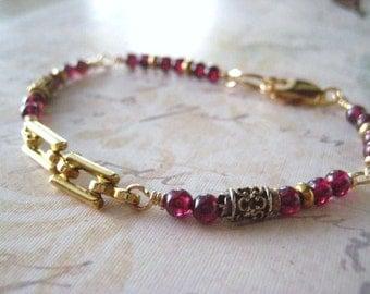 Red Garnet Bracelet, Garnet Gemstone, Sterling Silver, Genuine Red Garnet, Vintage Links, Gold Fill Clasp, January Birthday