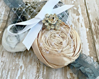 Flower Headband, Rolled Flower Headband, Grey, Blush Pink, Ribbon, Feathers, Vintage Inspired, Baby Headband, Hair Accessories, Rhinestone