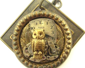 Time  Owl ... Steampunk Victorian Owl Watch Pendant, Steampunk Owl  Pendant, One of a Kind