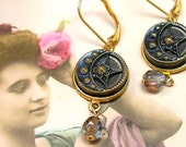 1800s BUTTON earrings, Victorian Crescent MOON & STAR in gold. Button jewellery.