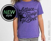 3 COLORS - lettuce turnip the beet ® official site - heathered track tshirt - grey, blue, or purple - youth sizes - runs small