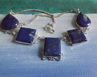Lapis Lazuli sterling silver necklace -  meditation aid - spiritual awareness -unique necklace