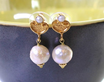 Genuine Kasumi AAA Ivory Pearl Earrings with Gold Vermeil and Pearl Post backs....