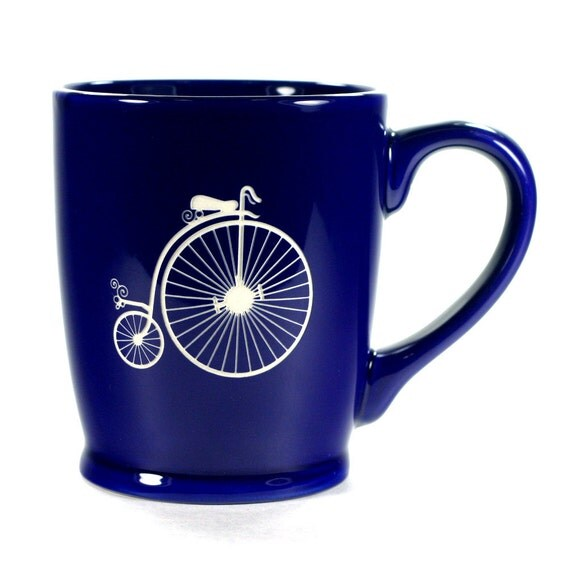 Penny Farthing Bicycle Mug - Navy Blue - ordinary bike coffee cup