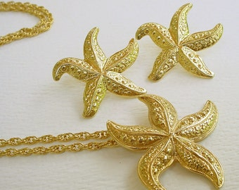 Vintage Starfish Necklace and Pierced Earrings Set - Gold Tone