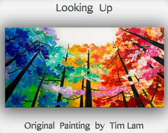 Art, painting, tree painting, Looking up forest, landscape painting, wall decor canvas, oil painting, abstract painting, by Tim Lam, 48""