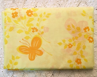 New Vintage Duvet Cover - Yellow Butterflies - New Full Queen - Unused - Yellow Comforter Cover - Bright Cheerful Butterflies
