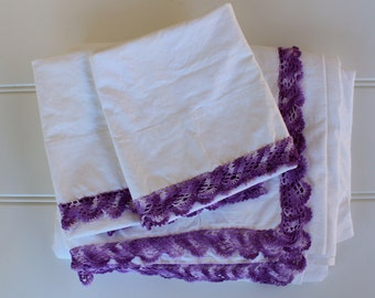 Vintage Cotton Muslin Flat Sheet w Pillow Cases - Trousseau Linens - Full Queen Set - White Cotton Muslin wPurple Crochet Trim Pillowcases