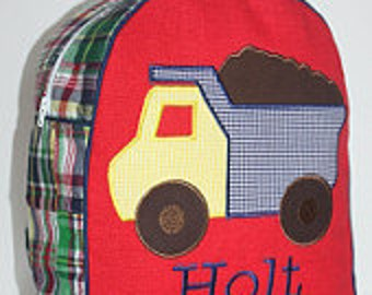 Custom Made Madras Plaid Child's Backpack- shown with Dump Truck and Fire Truck applique